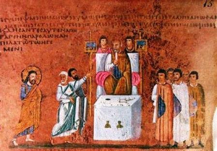 Codex Purpureus Rossanensis. Gesù davanti a Pilato; si notino i ritratti delle autorità imperiali e il ricordo della loro funzione pubblica. P. Orlando.