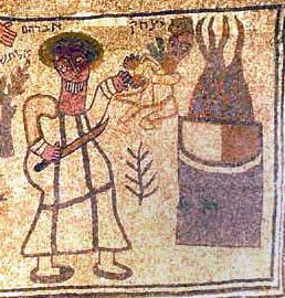 Sinagoga de Beit Alpha, s. VI. El sacrificio de Isaac. Detalle