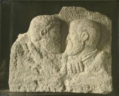 Pietro e Paolo, bassorilievo su calcare (inizi IV sec.), Aquileia – Museo Paleocristiano