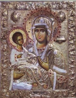 Παναγία Τριχερούσα (Santísima Trijerusa, de las tres manos). La tercera mano es la de Juan Damasceno.