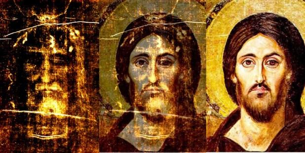 1 Tríptico del Santo Sudario de Turín. 2. Superposición con el del Sinaí. 3 Pantocrator del Sinaí.  Esta imagen se ha obtenido colocando una transparencia de alto contraste sobre el icono de Cristo Pantocrator.