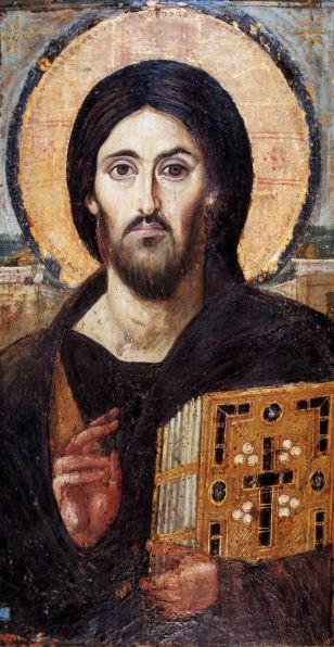 ICONO DE CRISTO DEL SINAÍ, Convento de S. Catalina, técnica encáustica, de 0,84 x 45 m. Constantinopoli, siglo   VI. iconecristane.it