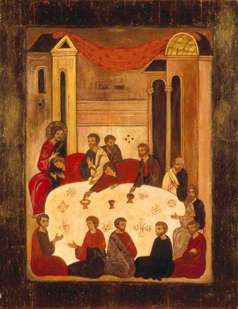 La mística Cena del Señor. Icono ruso, s. XV.