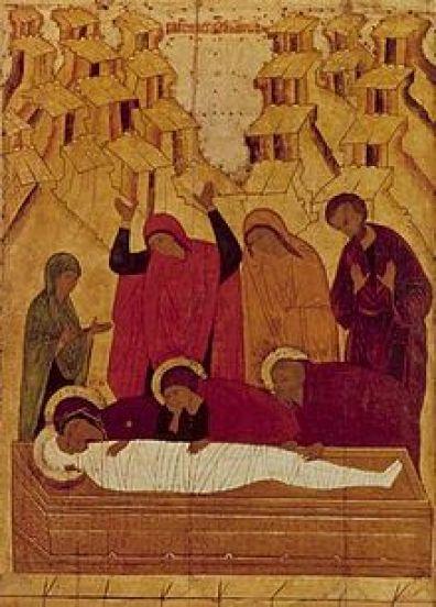 El entierro de Cristo. Galería Tretyakov, Moscú. s. XV