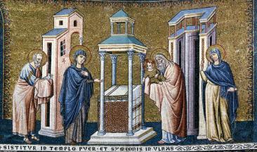 La Presentación del Señor en el Templo. Mosaico de Pietro Cavallini en la Basílica de Santa Mar´pia de Trastevere, Roma.