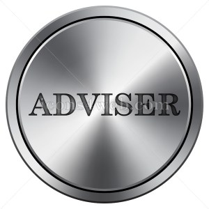 Adviser icon. Round icon imitating metal. - Icons for your website