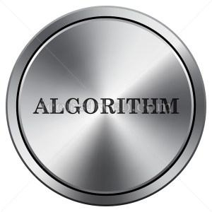 Algorithm icon. Round icon imitating metal. - Buy Icons for your website