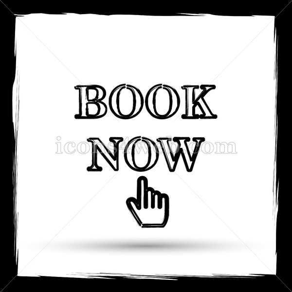 Book now icon, Book now website button on white background - Icons for your website