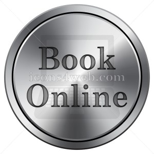 Book online icon. Round icon imitating metal. Book online icon. - Icons for your website