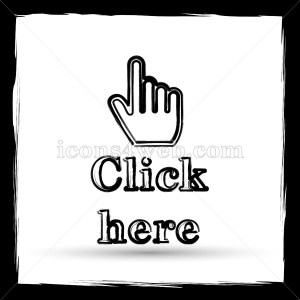 Click here icon. Flat icon with outline design on white background - Icons for your website