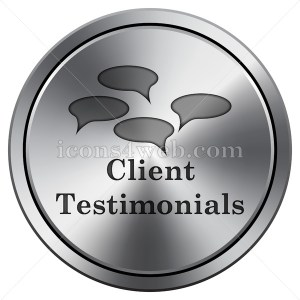 Client testimonials icon. Round icon imitating metal. - Icons for your website