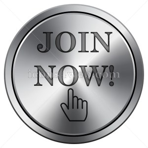 Join now icon. Round icon imitating metal. Join now website button. - Icons for your website