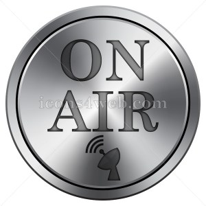 On air icon. Round icon imitating metal. Button on white background. - Icons for your website