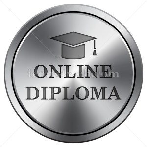 Online diploma icon. Round icon imitating metal. - Buy Icons for your website