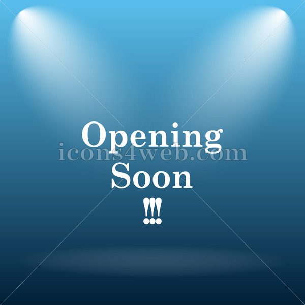 Opening soon icon. Opening soon internet button. Blue opening soon icon. - icons4web