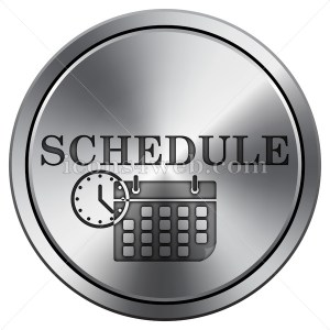 Schedule icon. Round icon imitating metal. - Icons for your website