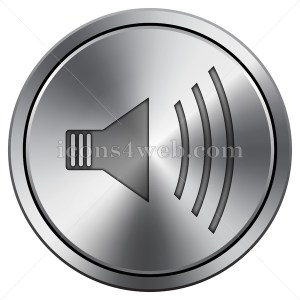 Speaker icon imitating metal with carved design. Round icon with border. - Icons for your website