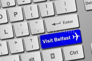 Visit Belfast keyboard button. Buy online tickets concept to visit Belfast. - Icons for your website