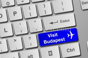 Visit Budapest keyboard button. Buy online tickets concept to Budapest - Icons for your website