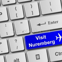 Visit Nuremberg keyboard button. Buy online tickets concept to Nuremberg - Icons for your website