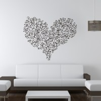 Floral Love Heart Flowers Valentine Wall Art Stickers Wall ...