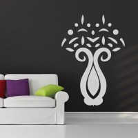 Flower Vase Abstract Floral Wall Art Sticker Wall Decal ...