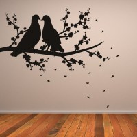 Two Birds on Branch Nature Wall Art Sticker Wall Decal ...