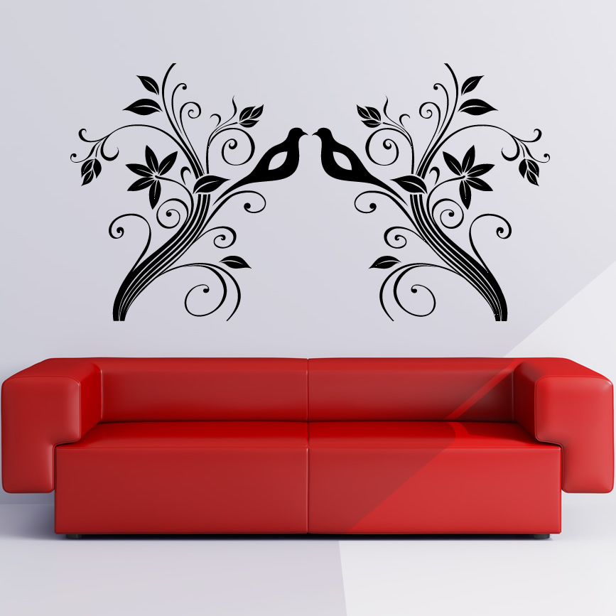 Birds on Branches Floral Wall Art Sticker Wall Decals