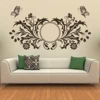 Butterfly Design Floral Circle Wall Art Sticker Transfers ...