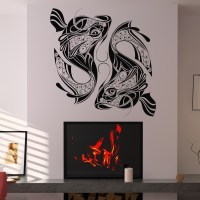Decorative Fish Twin Fish Wall Decal Wall Art Stickers ...