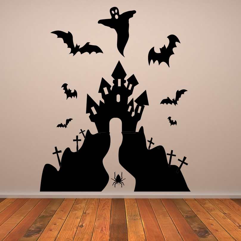 Haunted House Halloween Wall Art Sticker Wall Decal