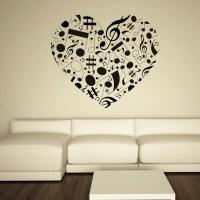 Musical Note Love Heart Wall Art Sticker Wall Decal ...