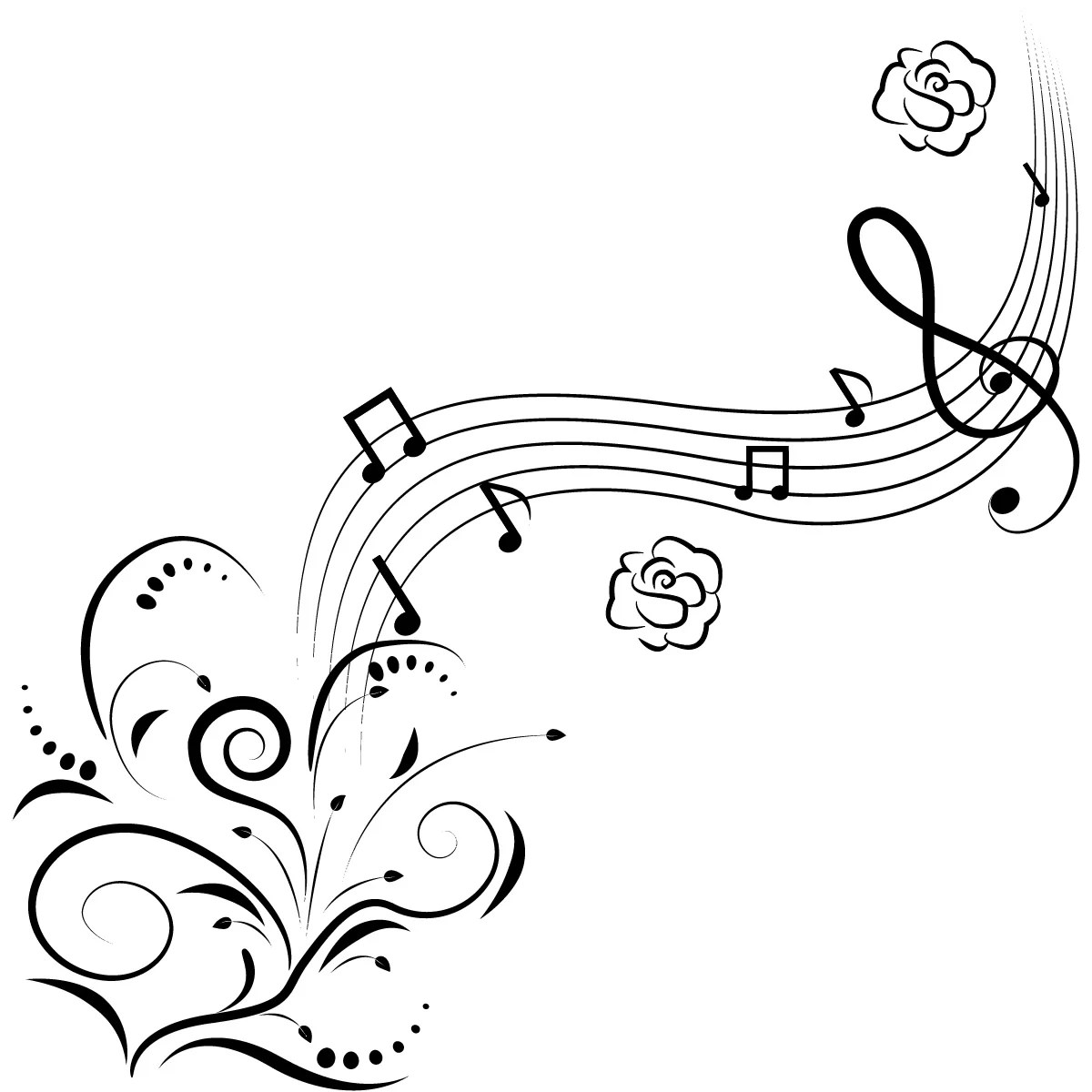 Music Notes Flowers Wall Art Decals Wall Stickers Transfers