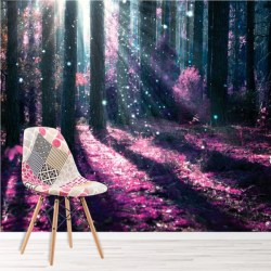 forest enchanted mural wall purple decor bedroom tree murals fantasy ws mystical trees