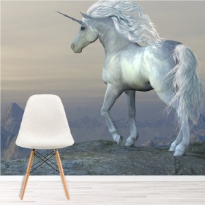 unicorn wall mural bedroom decor fairytale fantasy cliff ws murals mountain iconwallstickers