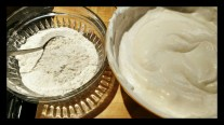 Once the whites are folded in, gently fold in the flour mixture.