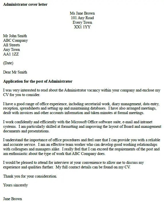 Administrator cover letter example