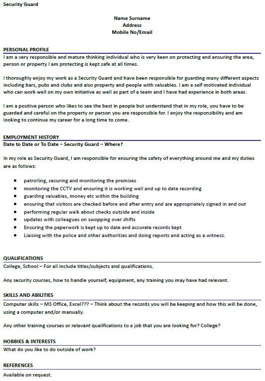 Security Guard CV Example Uk