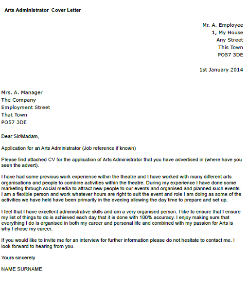Arts administrator cover letter example for Covering letter examples for administrator