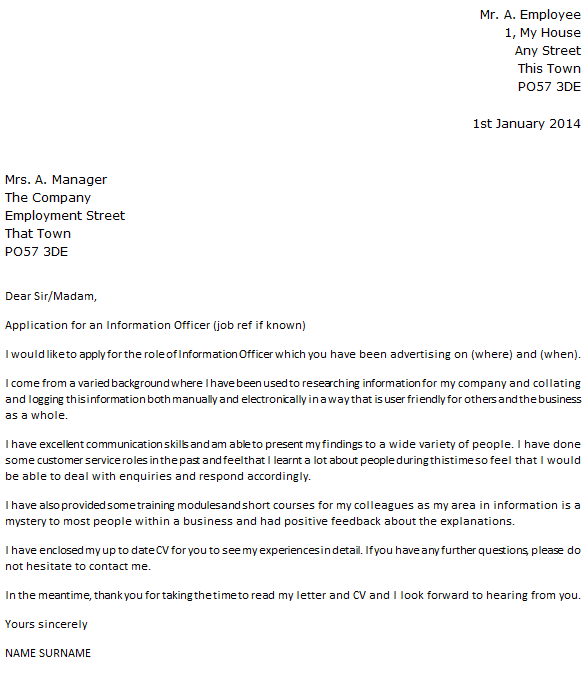 Information Officer Cover Letter Example  icoverorguk