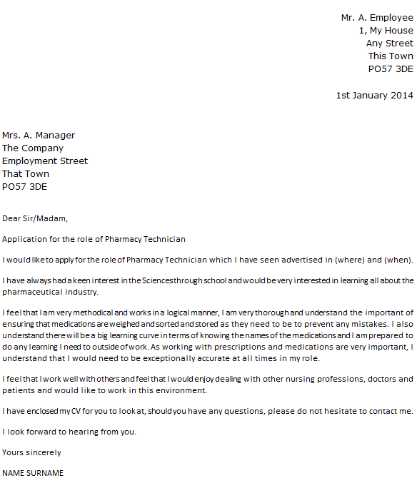 Pharmacy Technician Cover Letter Example Icover Org Uk