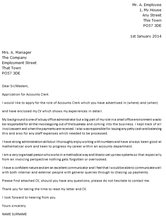 Accounts Clerk Cover Letter Example Icover Org Uk