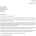 Compliance Manager Cover Letter Example