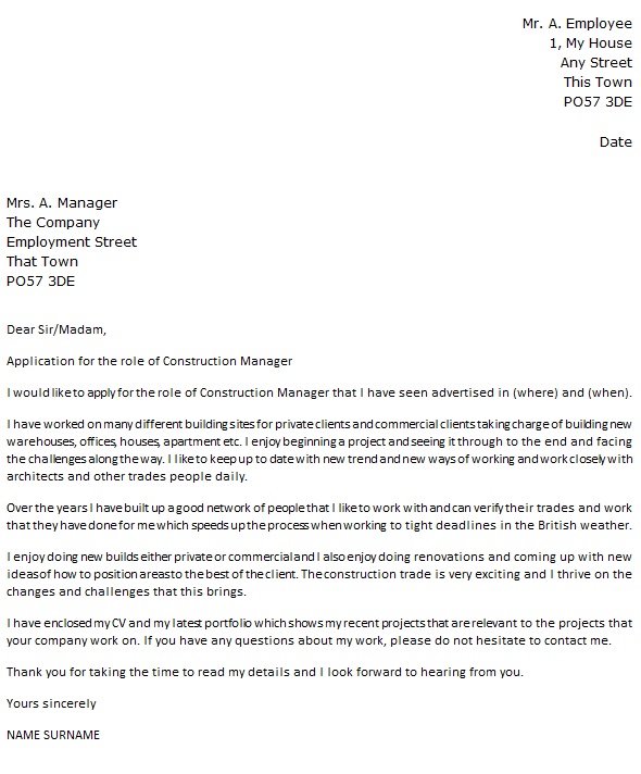 Construction Manager Cover Letter Example Uk