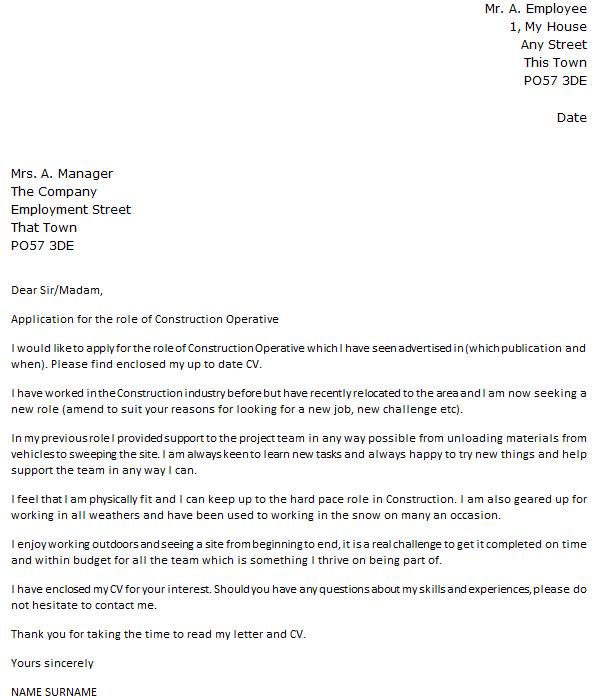 general laborer cover letter