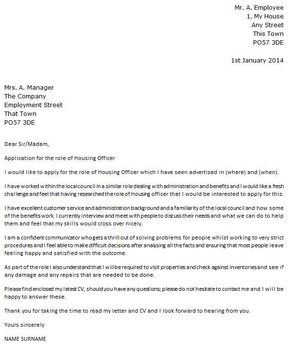 Housing Officer Cover Letter Example