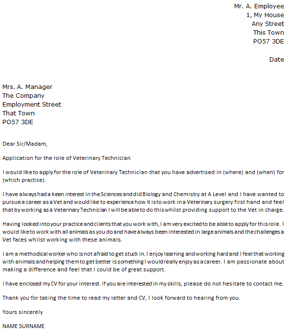veterinary technician letter of recommendation sample