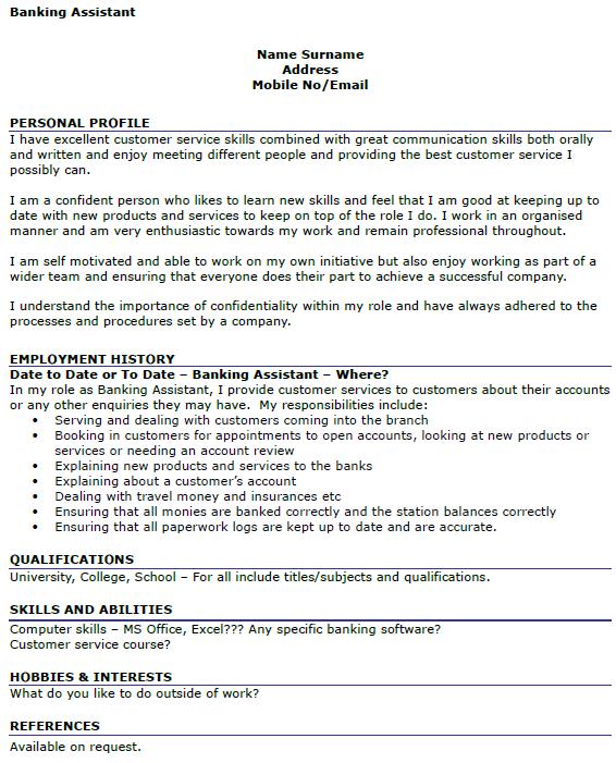 sample resume headline job resume personal banker description job – Resume Profile Example