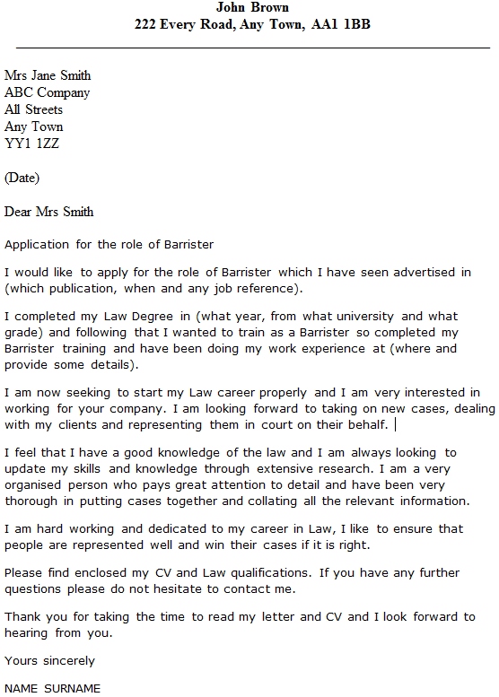 Barrister Cover Letter Example Icover Org Uk