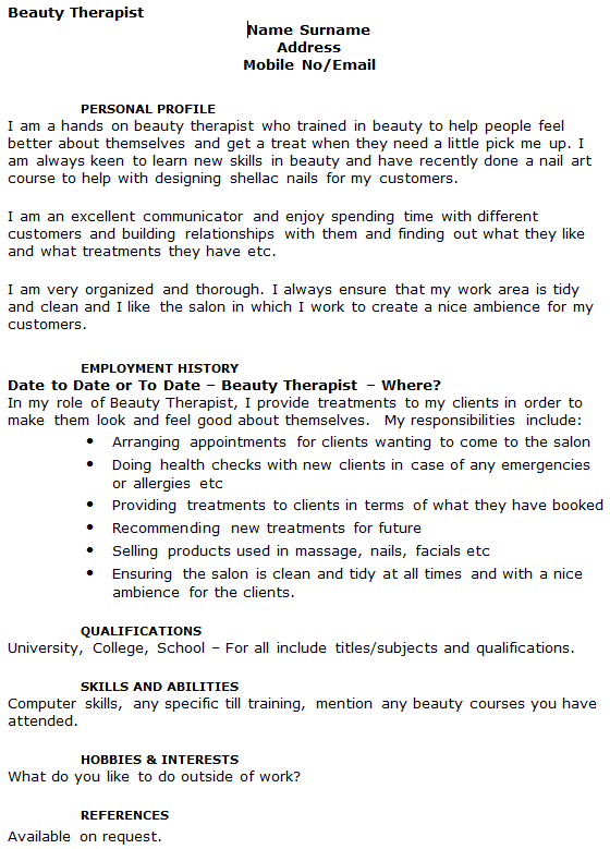 Beauty Therapist CV Example Icover Org Uk